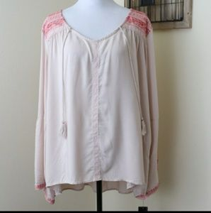 Signature Studio Pink Embroidered Blouse 2X NWT